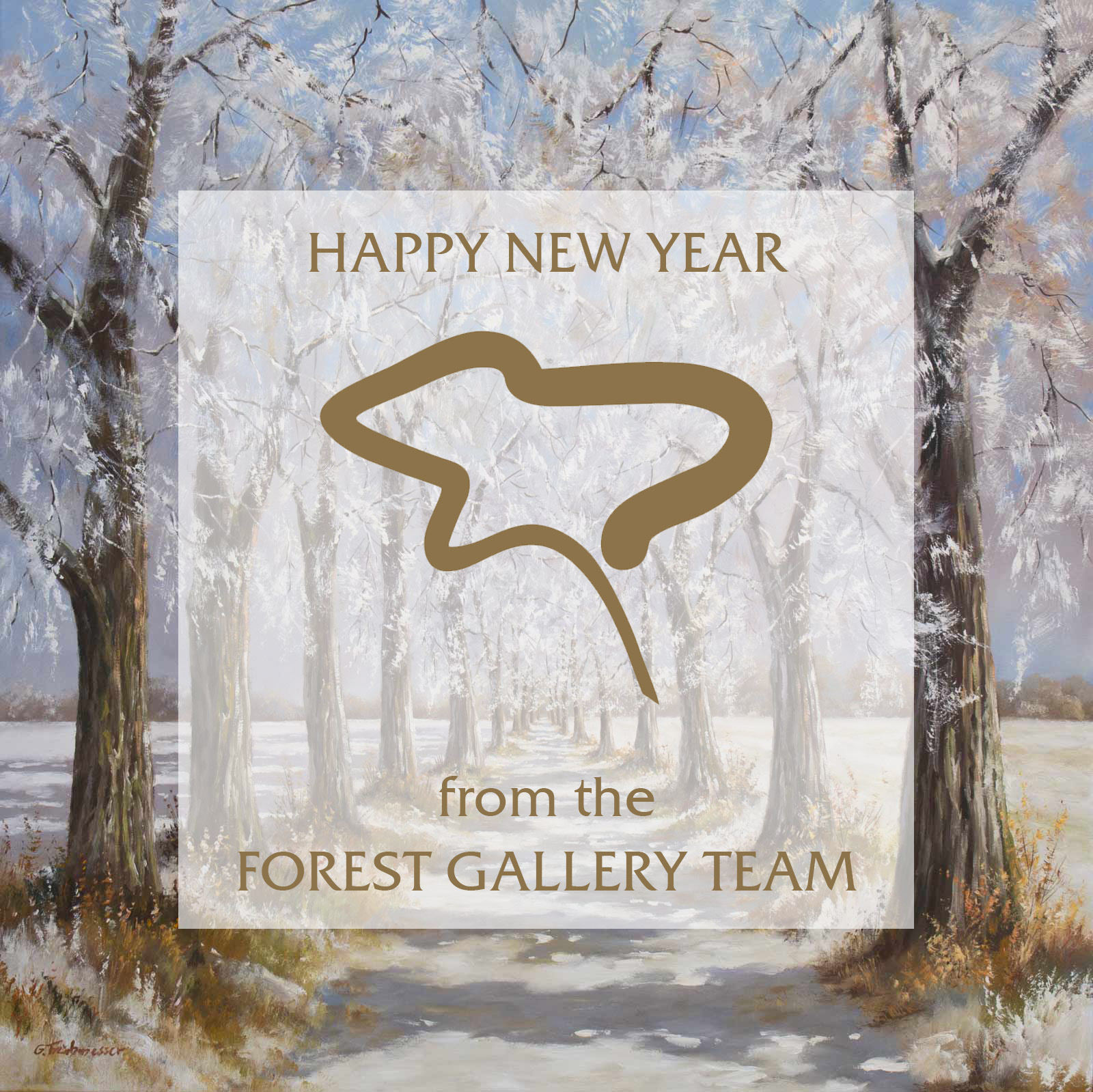 Fruhmesser original painting from Forest Gallery Petworth, Happy New Year 2017