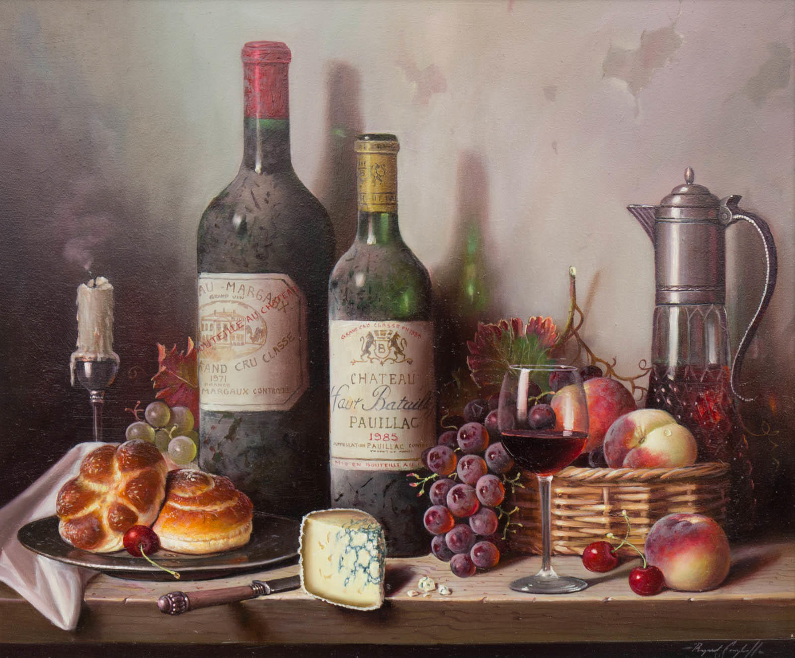 raymond campbell paintings, raymond campbell originals, raymond campbell wine bottles, raymond campbell artist