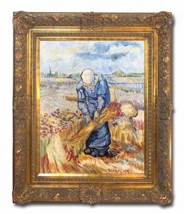 Peasant Woman Binding Sheaths after Vincent Van Gogh,