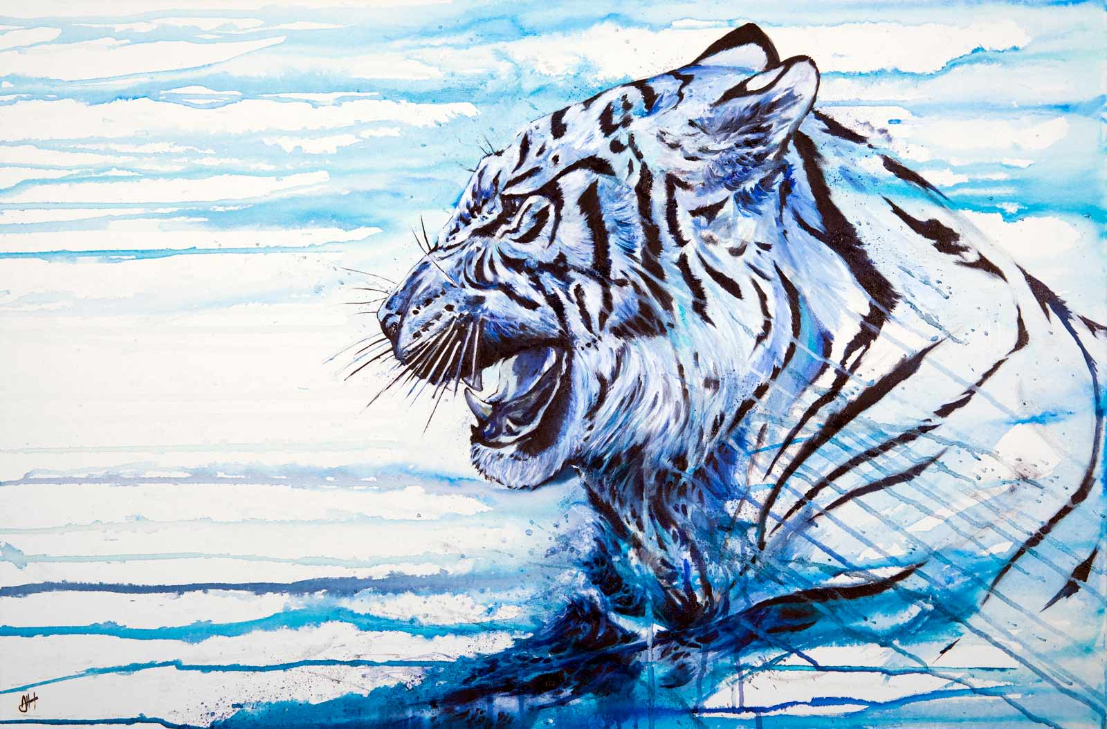 mixed media painting using ink watercolour and paint featuring a tiger by marc allante