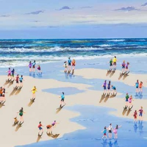 vibrant painting of people on a sandy beach painted by the artist Paola Cassais