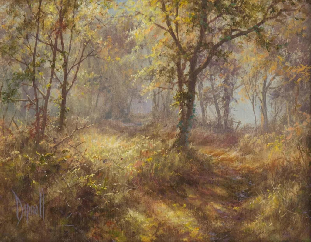 Oil painting by artist David Dipnall of an Autumnal woodland scene