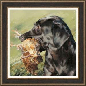 Black Labrador with Woodcock,