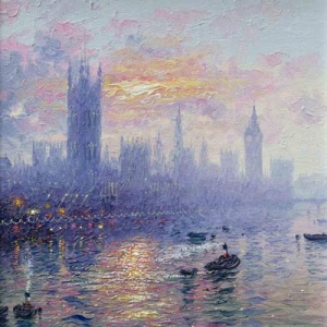 Painting of Westminster and Big Ben by the River Thames by Andrew Grant Kurtis