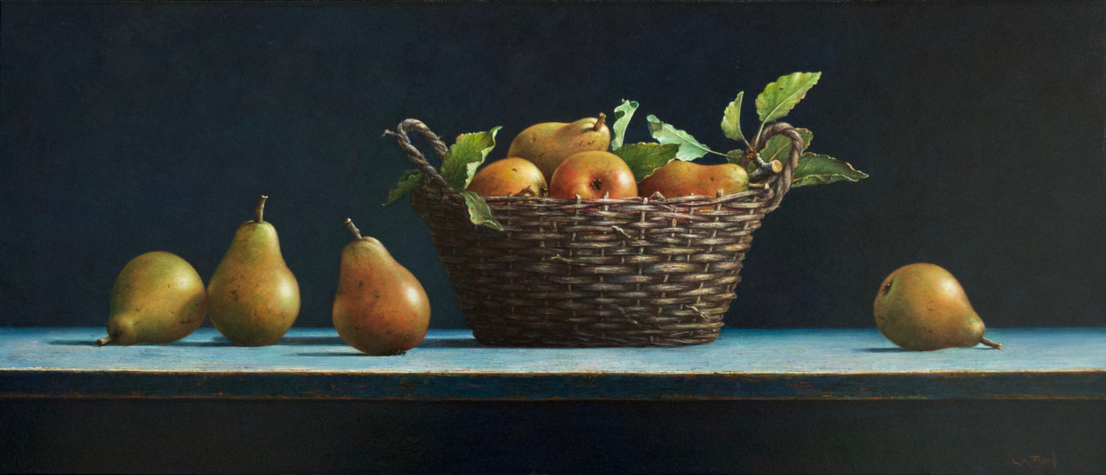 oil painting by artist lion feijen of pears in a basket