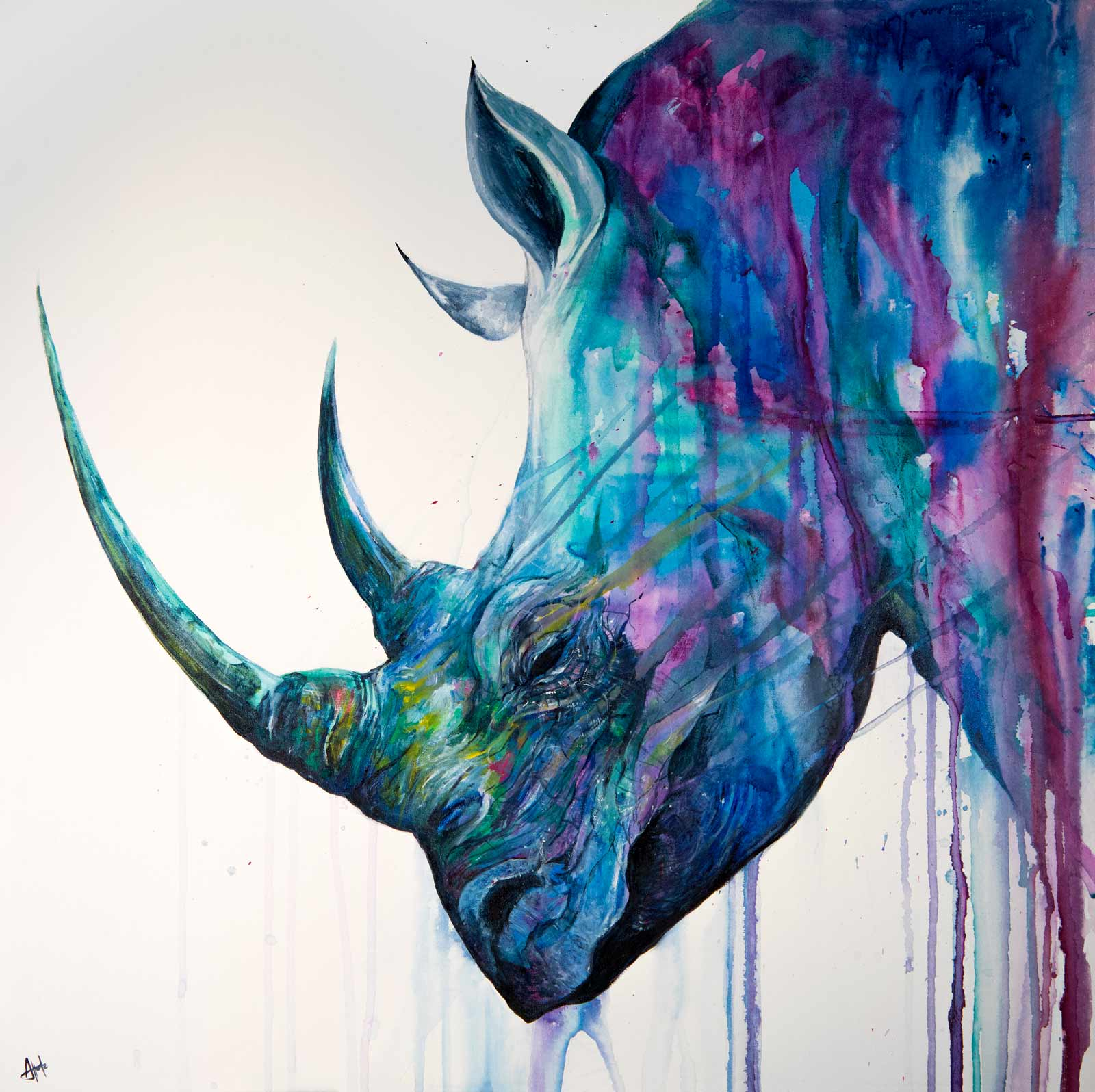 ink art by marc allante featuring a rhino