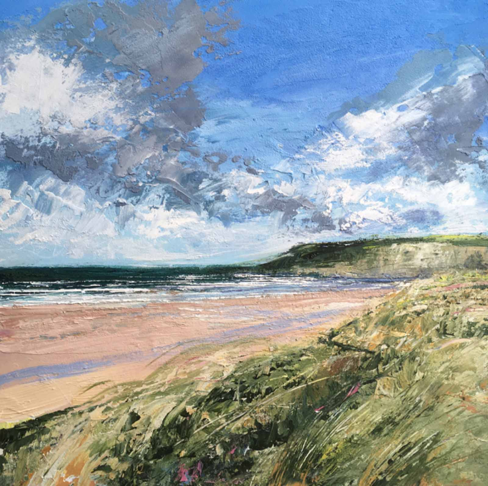 original painting by artist grace ellen featuring a summer day over holywell bay in cornwall