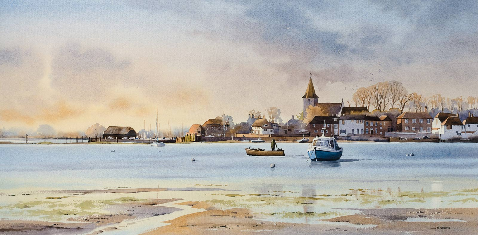 original watercolour painting by artist oliver pyle picturing Bosham harbour at sunset