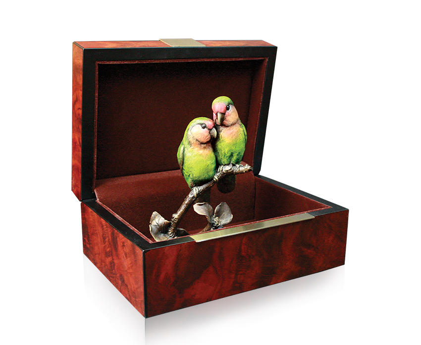 bronze sculpture of two paroquet birds together presented in a box by keith sherwin
