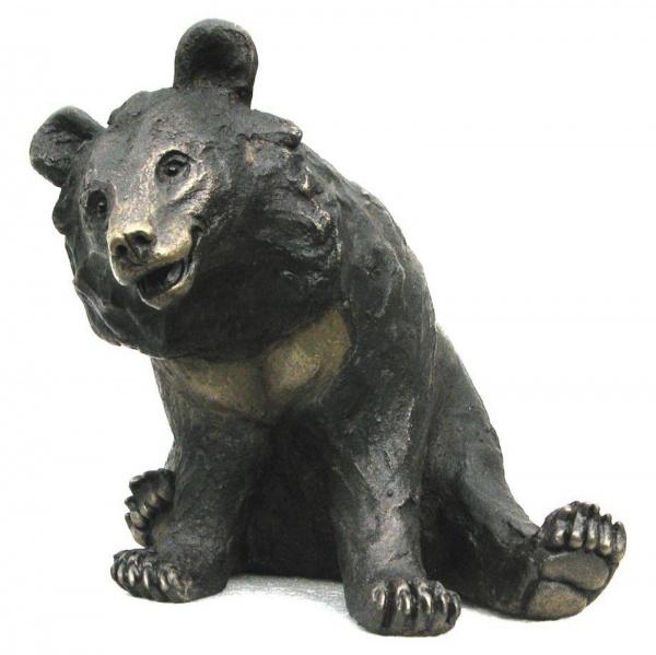 bronze resin sculpture of a moon bear by artist suzie marsh