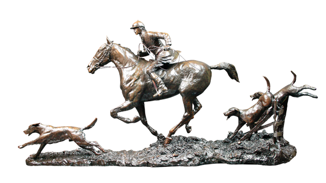bronze sculpture of horse and dogs by artist david geenty