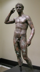 victorious youth sculpture in bronze greek ancient sculpture