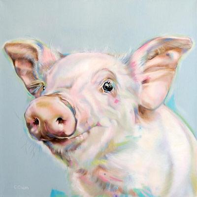 Original oil painting of a pig by UK artist Carol Gillan
