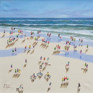 Original mixed media painting featuring a playful beach scene by talented artist Paola Cassais