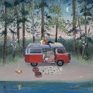 Fun-loving print of a VW camp van by talented British artist Jenni Murphy