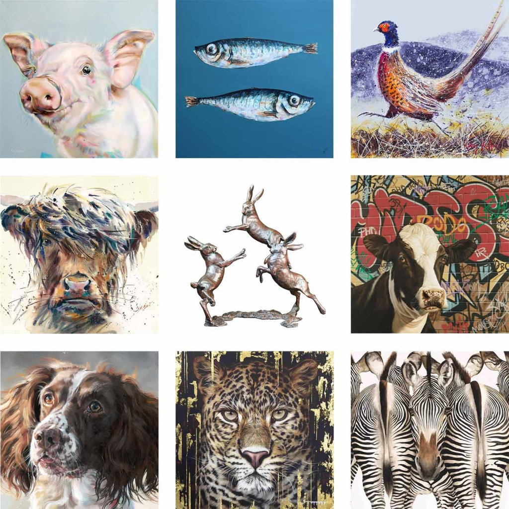 selection of animal paintings by animal artists