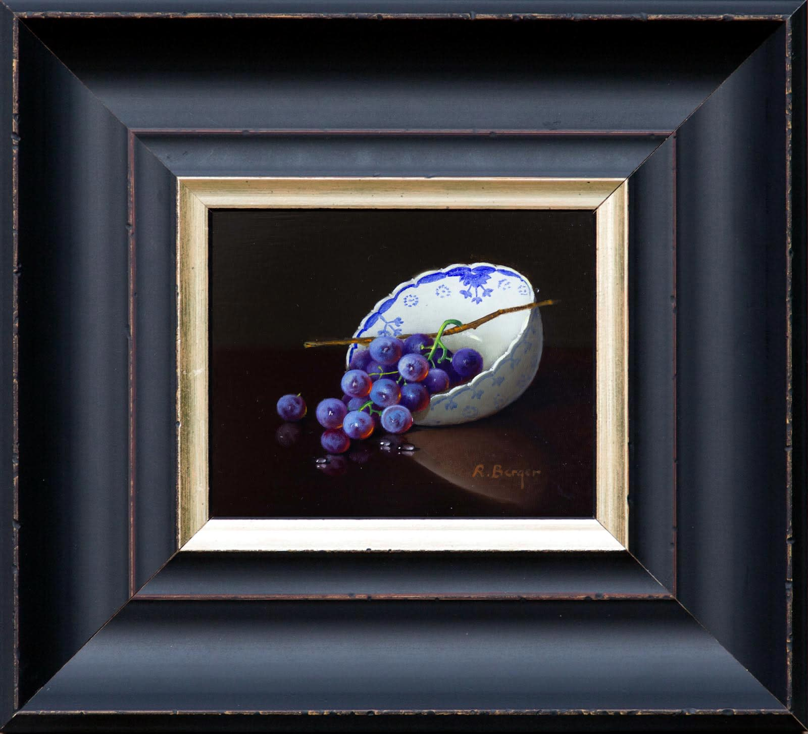 Grapes in Porcelain Bowl