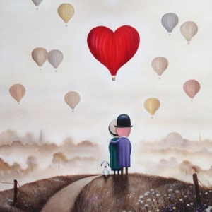 romantic original painting of a couple and their dog and heart shaped balloon overlooking landscape by British artist Michael Abrams