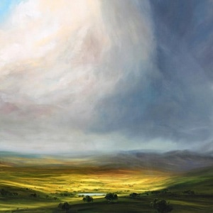 dramatic landscape painting by british artist harry brioche