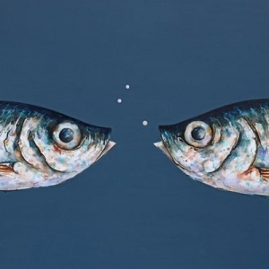original painting of two fish against a dark blue background by british artist giles ward