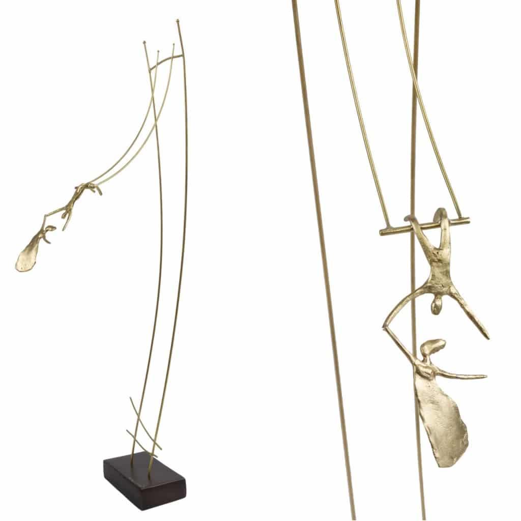greek artist anna andreadi bronze sculpture of coupe swinging