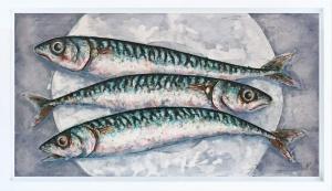Three Mackerel On A Plate,