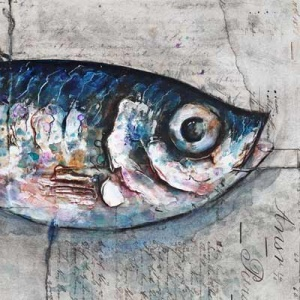 Original mixed media painting featuring a marvellous sardine by talented British artist Giles Ward