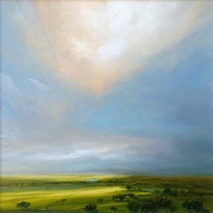 Original painting featuring a dramatic sky from the view of a valley at the Lake district