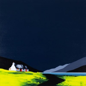 Striking original painting featuring a lovely cottage in an atmospheric contemporary landscape inspired bye Scotland and South Wales by British artist Jay Nottingham