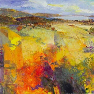 Striking and colourful Italian abstract landscape featuring some masterful patchwork by the talented Italian artist Mario Malfer