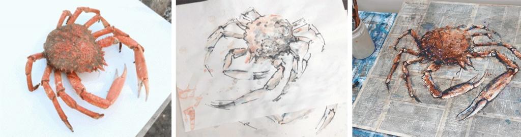 crab sketch by artist giles ward
