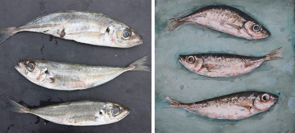 three fish used as a still life painting by giles ward