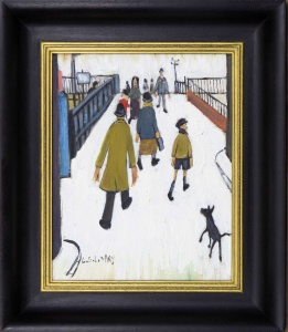 Crossing Over the Footbridge after L.S.Lowry,