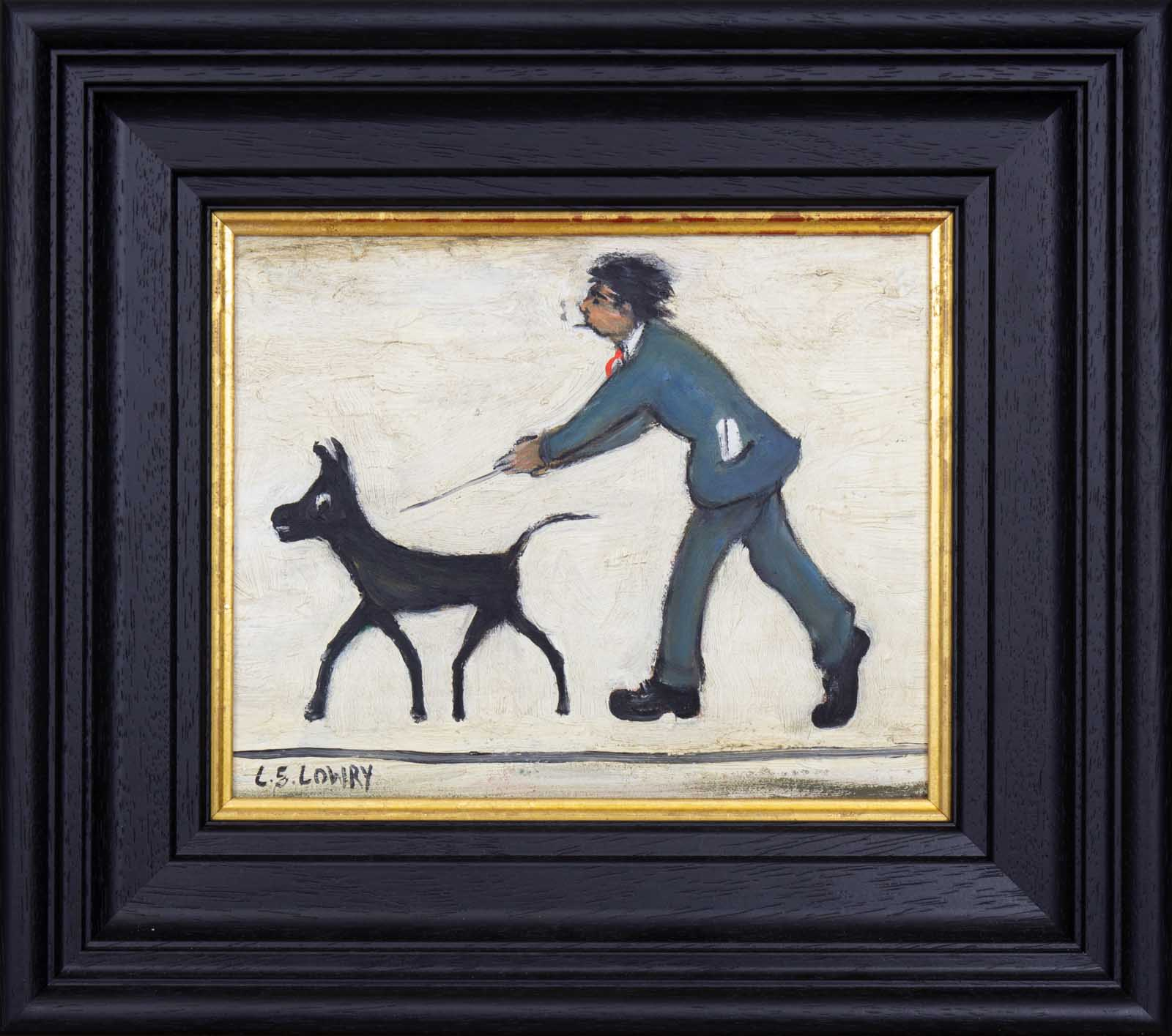 Man Walking Dog after L.S.Lowry