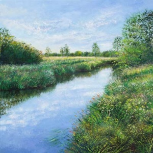 sunny painting of spring time at the river rother in West Sussex by British artist Grace Ellen