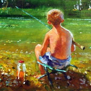 Original oil painting featuring a little boy staring at a lake with his fishing rod in hand and his bait jar next to him by the internationally acclaimed British artist John Haskins