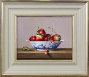 Strawberries in Porcelain Bowl,