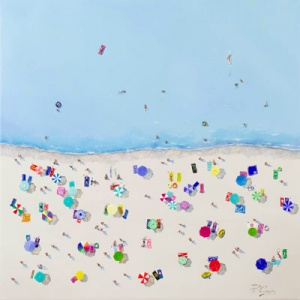 Original mixed media and acrylic painting featuring a crowded beach seeing from above you can appreciate they towels, sun lounges and people swimming in the sea by the talented internationally acclaimed artist Paola Cassais