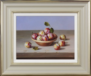 Plums in Terracotta Bowl,