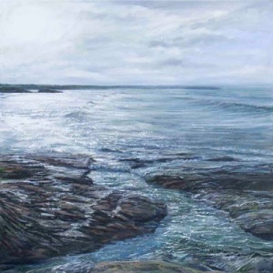Original oil painting featuring tide whirpools made by the current inspired by a Cornwall scene by local British artist Grace Ellen