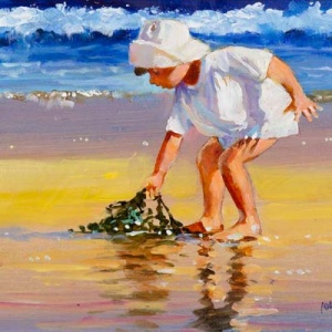 Original oil painting featuring a little kid playing with algae on the beach in a sunny afternoon by internationally acclaimed British artist John Haskins