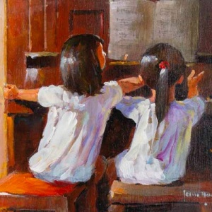 Original painting featuring a couple of girls playing the piano together by internationally acclaimed British artist John Haskins
