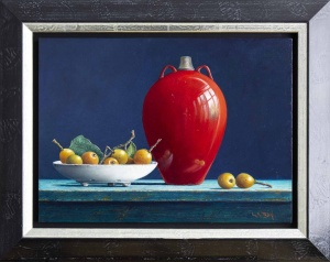 Red Vase With Loquat Fruit,