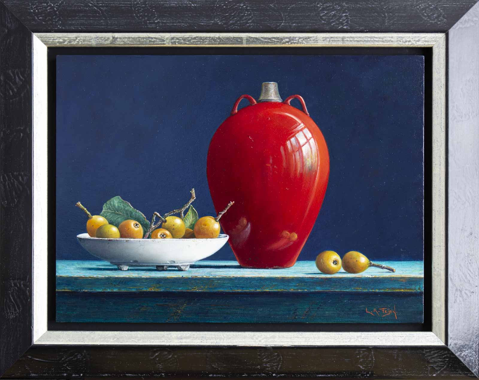 Red Vase With Loquat Fruit
