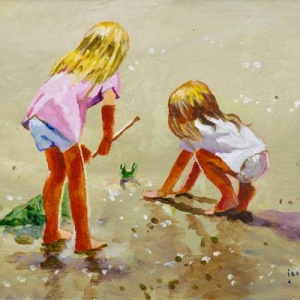 Original oil painting featuring two little blonde girls playing on the beach with a little crab by internationally acclaimed British artist John Haskins